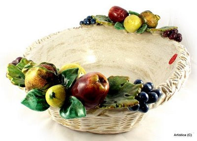 ROBBIANA: Large oval bowl with Fruit