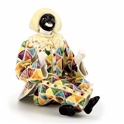 ARLECCHINO: Hand Painted Original Harlequin Figurine ~ Fully hand made in Italy in double fired ceramic.
