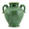 DOLFI BUTTON GREEN: Vase with hand applied button motif and two handles GREEN