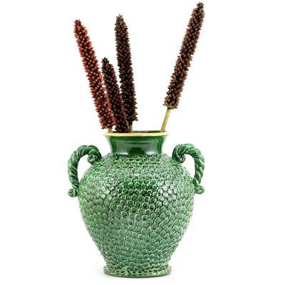 Dolfi Button Green Vase With Hand Applied Button Motif And Two