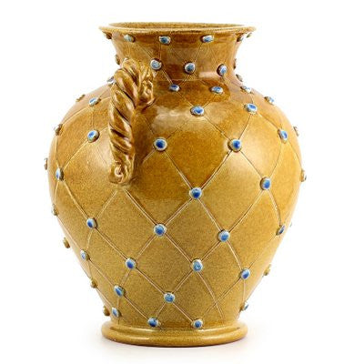 DOLFI CARAMEL BLUE DOTS: Vase with two braided handles CARAMEL with Blue dots