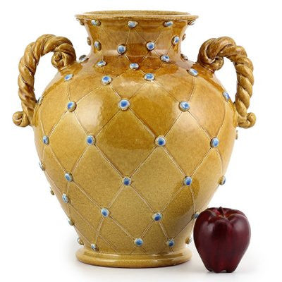 Dolfi Caramel Blue Dots Vase With Two Braided Handles Caramel With