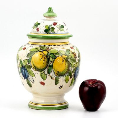 MAJOLICA LIMONI MONTELUPO: Round footed canister