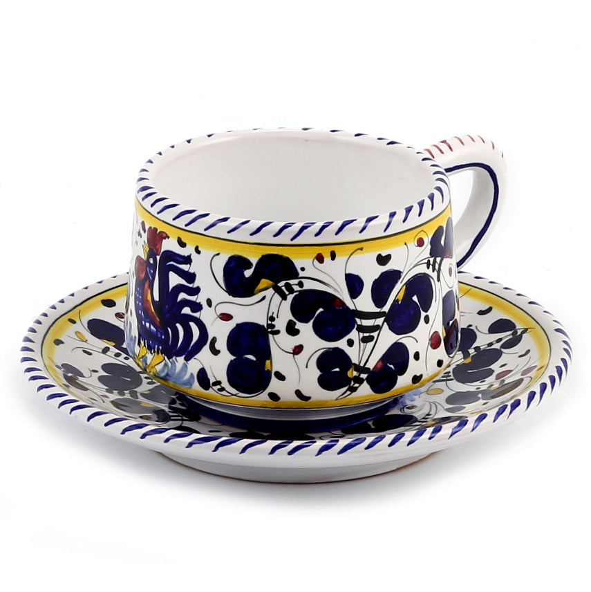 ORVIETO BLUE ROOSTER: Cup and Saucer [R]