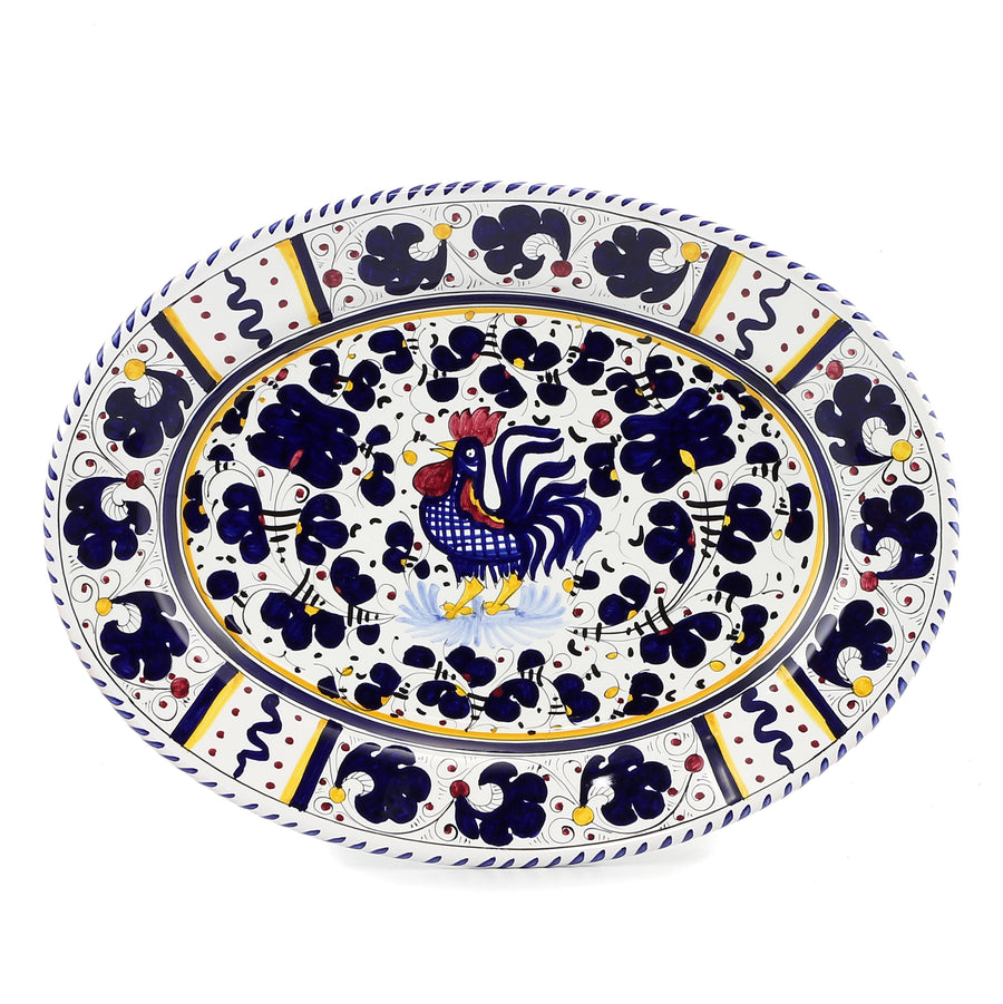 ORVIETO BLUE ROOSTER: Large Oval Platter