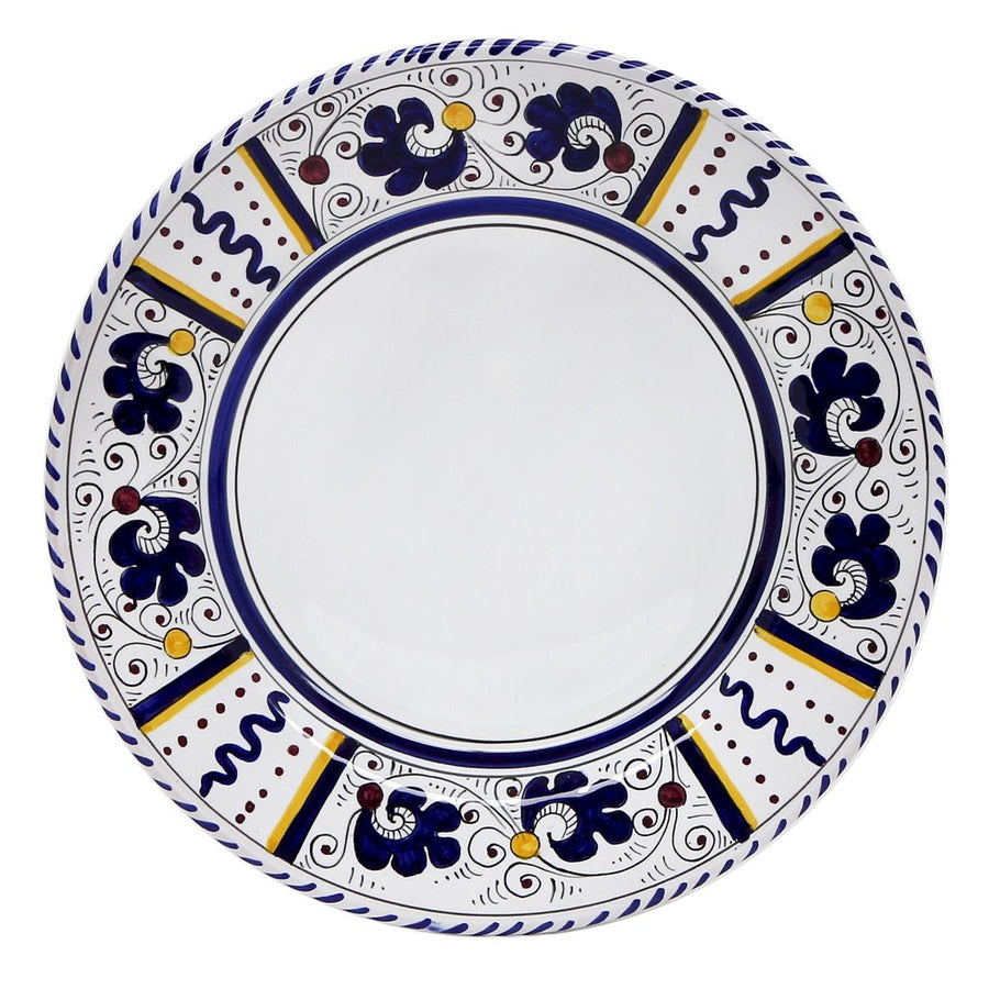 ORVIETO BLUE ROOSTER: Dinner Plate (White Center)