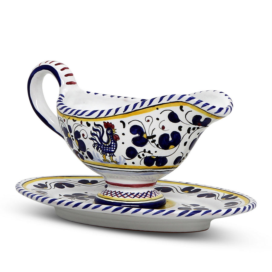 ORVIETO BLUE ROOSTER: Gravy Sauce Boat with Tray