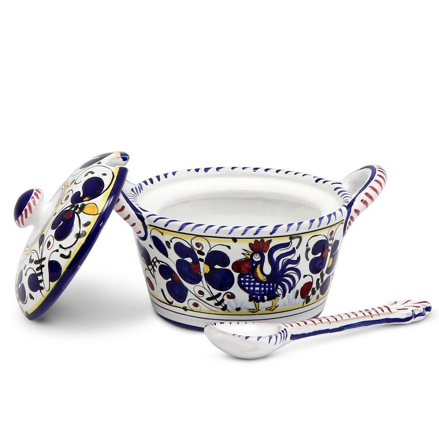 ORVIETO BLUE ROOSTER: Covered Parmesan Cheese Bowl with Spoon