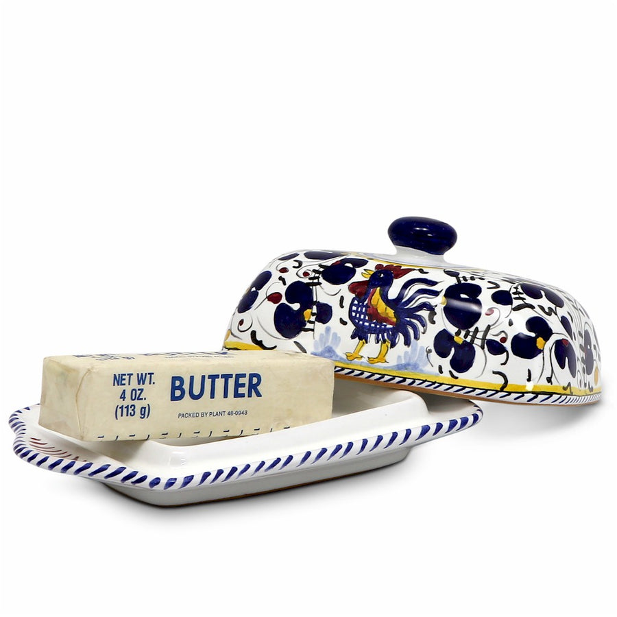 ORVIETO BLUE ROOSTER: Butter Dish with Cover [R]
