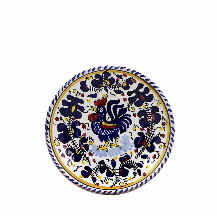 "ORVIETO BLUE ROOSTER: Small Bread Plate - 7"" Diam. Saucer"