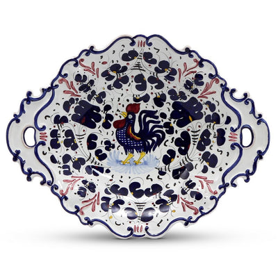 ORVIETO BLUE ROOSTER: Oval Tray with Handles [R]