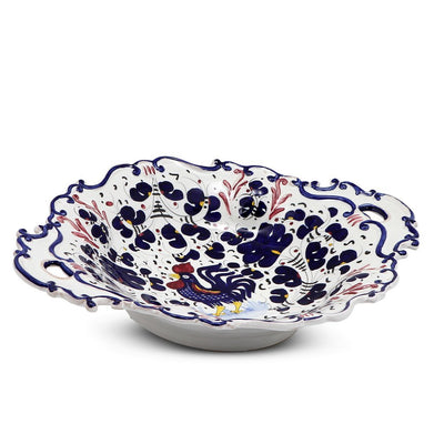 ORVIETO BLUE ROOSTER: Oval Tray with Handles