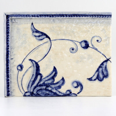 BACKSPLASH/MURAL: Modular Hand Painted ~ Gubbio Vario Blue Design (4 Tiles)