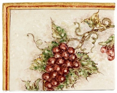 BACKSPLASH/MURAL: Modular Hand Painted - Vino Veritas Grapes Design (6 Tiles)