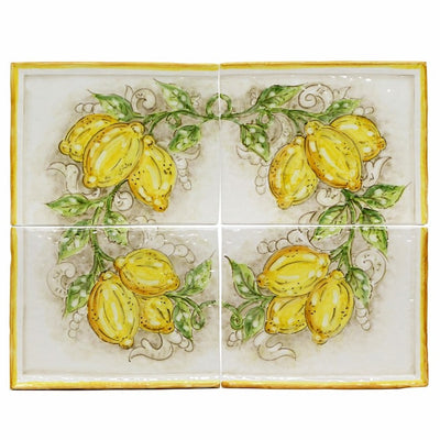 BACKSPLASH/MURAL: Modular Hand Painted ~ Tuscan Lemon Design (4 Tiles)