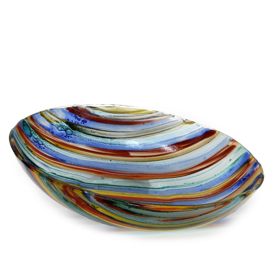 ITALIAN GLASS: Fused Glass Round Centerpiece Multicolor
