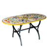 STONE ITALIAN TABLE  + IRON BASE: PISA Design - Hand Painted *