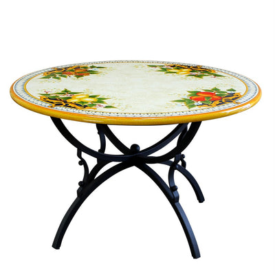 STONE ITALIAN TABLE  + IRON BASE: TROPEA Design - Hand Painted