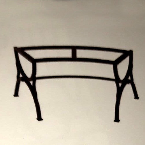 WROUGHT IRON BENCH WITH CERAMIC TOP: Curved model design (seats one)