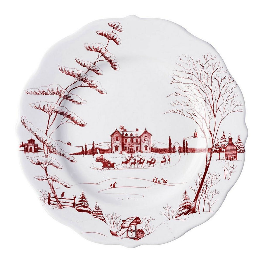 JULISKA: Country Estate Winter Frolic Ruby Dinner Plate Christmas Eve