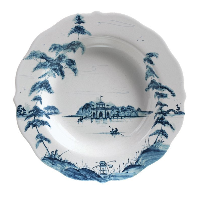 JULISKA: Country Estate Delft Blue Pasta/Soup Bowl Boathouse