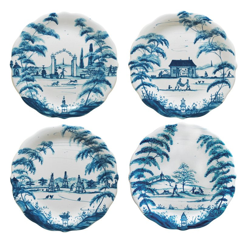 JULISKA: Country Estate Delft Blue Party Plates Set/4 Spring Gardening Scenes