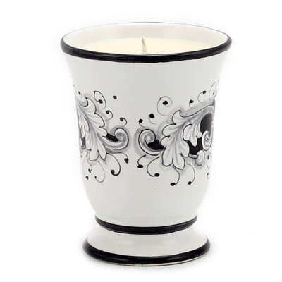 DERUTA CANDLES: Bell Cup Candle ~ Deruta Fondo Nero Design (With FREE refill!)
