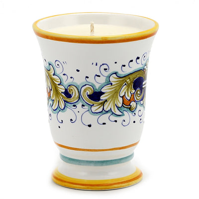 DERUTA CANDLES: Bell Cup Candle ~ Deruta Foglie Design