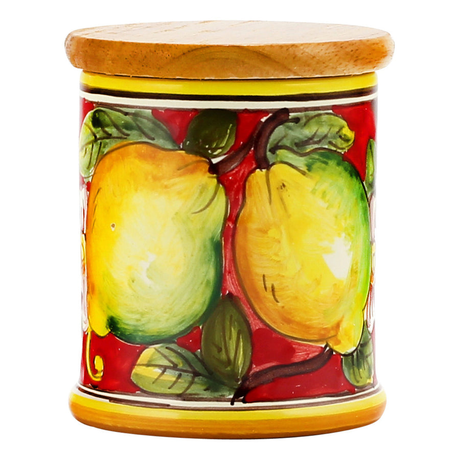 DERUTA CANDLES: Jar Cup Candle with lid ~ Limoni Fondo Rosso Design