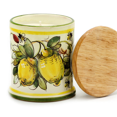 Jar Cup Candle with lid - Majolica Limoni Toscana Design