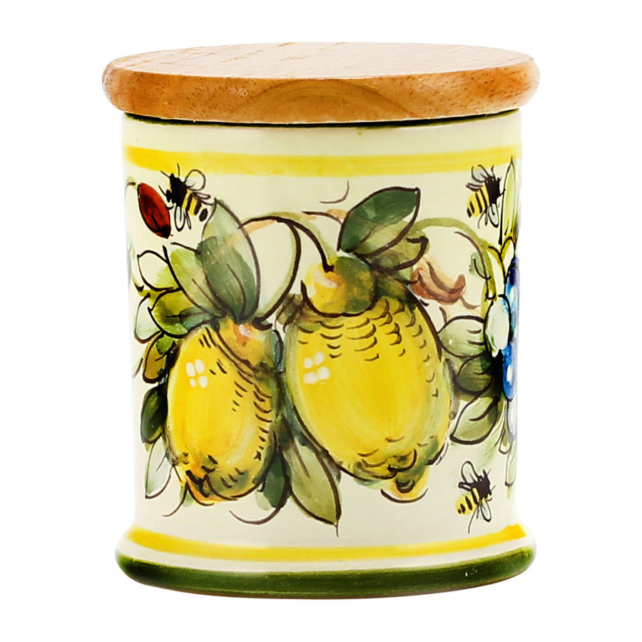 Jar Cup Candle with lid ~ Majolica Limoni Toscana Design