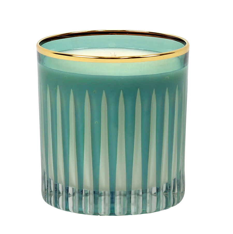 CRYSTAL CANDLES: Scented soy candle in hand engraved GREEN crystal cup - Blue Spruce scent