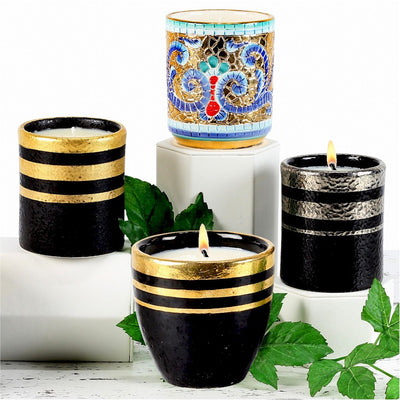 DERUTA BYZANTINE: Candle 'Bizzantino' Pure Gold hand painted