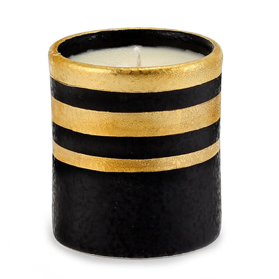 DERUTA MILANO: Candle Black with Hand Painted Pure Gold Stripes