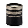 DERUTA MILANO: Candle Black with Hand Painted Pure Platinum Stripes