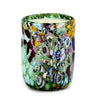 MURANO CANDLE: Authentic Murano Glass Tumbler in GREEN Murrina Style (12 Oz.)