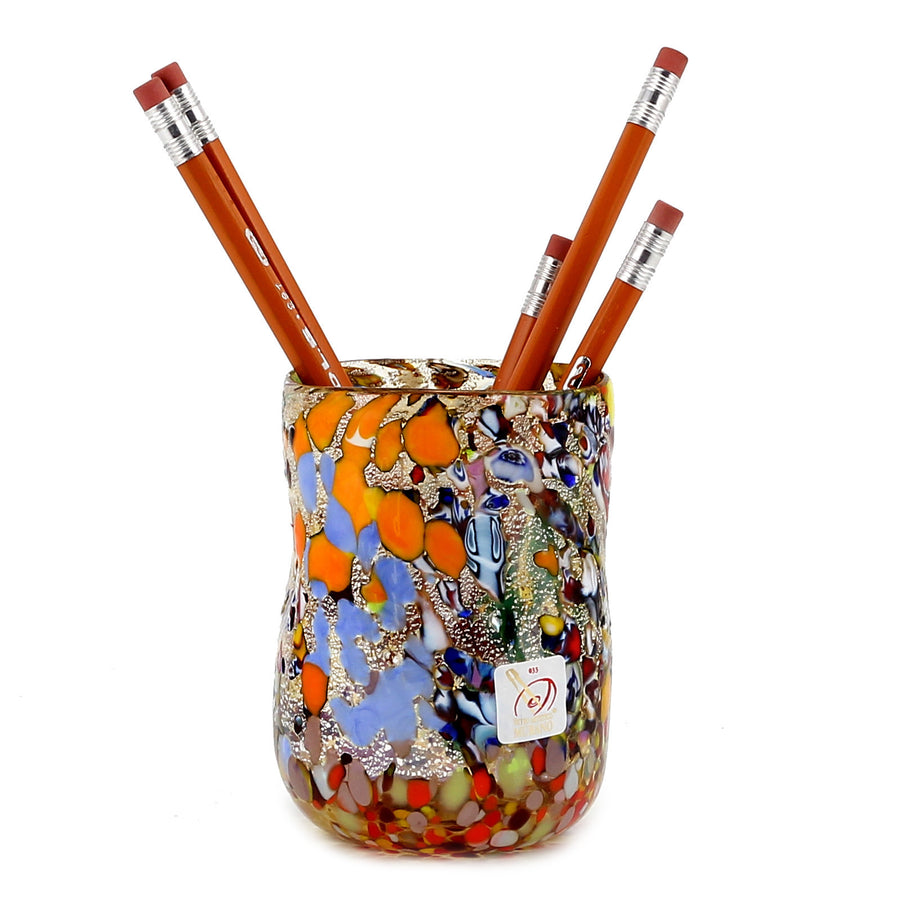 MURANO CANDLE: Authentic Murano Glass Tumbler in GOLD Murrina Style (12 Oz.)
