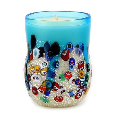 MURANO CANDLE: Authentic Murano Glass Tumbler in BLUE Murrina Style (15 Oz.)