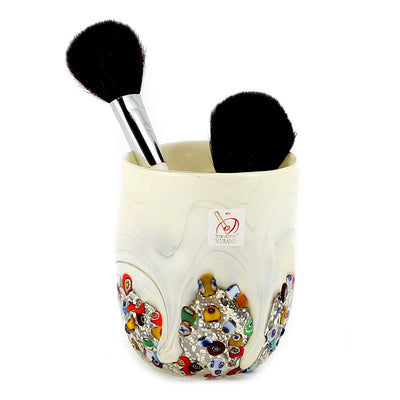 MURANO CANDLE: Authentic Murano Glass Tumbler in WHITE Murrina Style (15 Oz.)