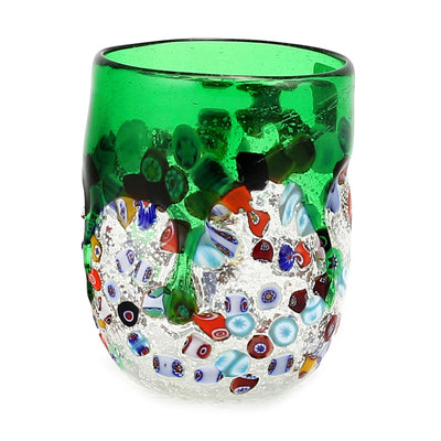 MURANO CANDLE: Authentic Murano Glass Tumbler in GREEN Murrina Style (15 Oz.)