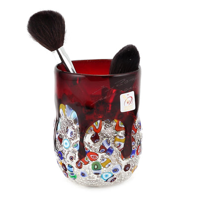 MURANO CANDLE: Authentic Murano Glass Tumbler in RED Murrina Style (15 Oz.)