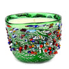 MURANO CANDLE: Authentic Murano Glass in GREEN Murrina Style - Square (14 Oz)