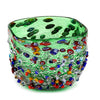 MURANO CANDLE: Authentic Murano Glass in GREEN Murrina Style ~ Square (14 Oz)