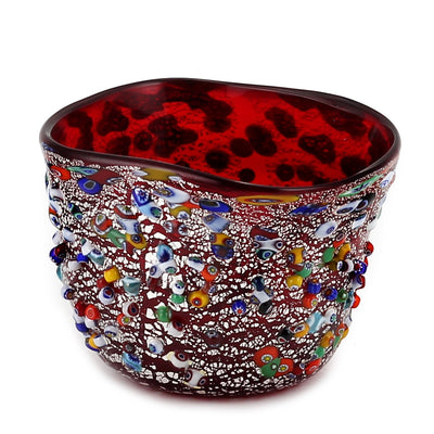 MURANO CANDLE: Authentic Murano Glass in RED Murrina Style - Square (14 Oz)