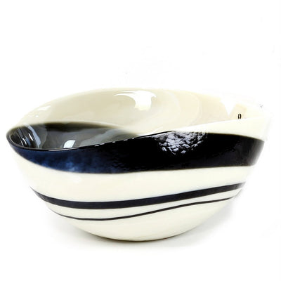 MURANO GLASS: Oval two wicks Candle Ivory and Black Swirl (16 Oz) Capri GARDENIA Scent