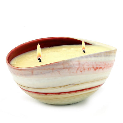 MURANO GLASS: Oval two wicks Candle Red swirl on ivory (16 Oz) Sicilian ORANGE Scent