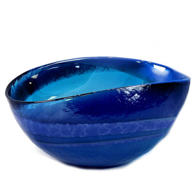 MURANO GLASS: Oval two wicks Candle Blue Swirl on Pearlized glass (16 Oz) Venetian \LAVENDER Scent