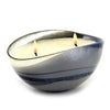 MURANO GLASS: Oval two wicks Candle Gray Swirl on Pearlized glass (16 Oz) Alps Wild BERRIES Scent