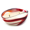 MURANO GLASS: Oval two wicks Candle Red Swirl on Pearl glass (16 Oz) Natale BLUE SPRUCE Scent