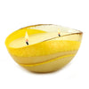 MURANO GLASS: Oval two wicks Candle Yellow Swirl on Pearlized glass (16 Oz) Positano LEMON Scent